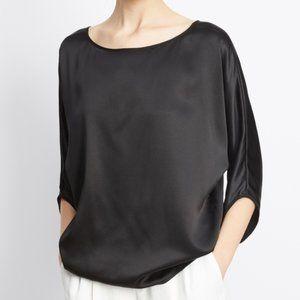 Vince Black Satin Envelope Sleeve Silk Blouse XS